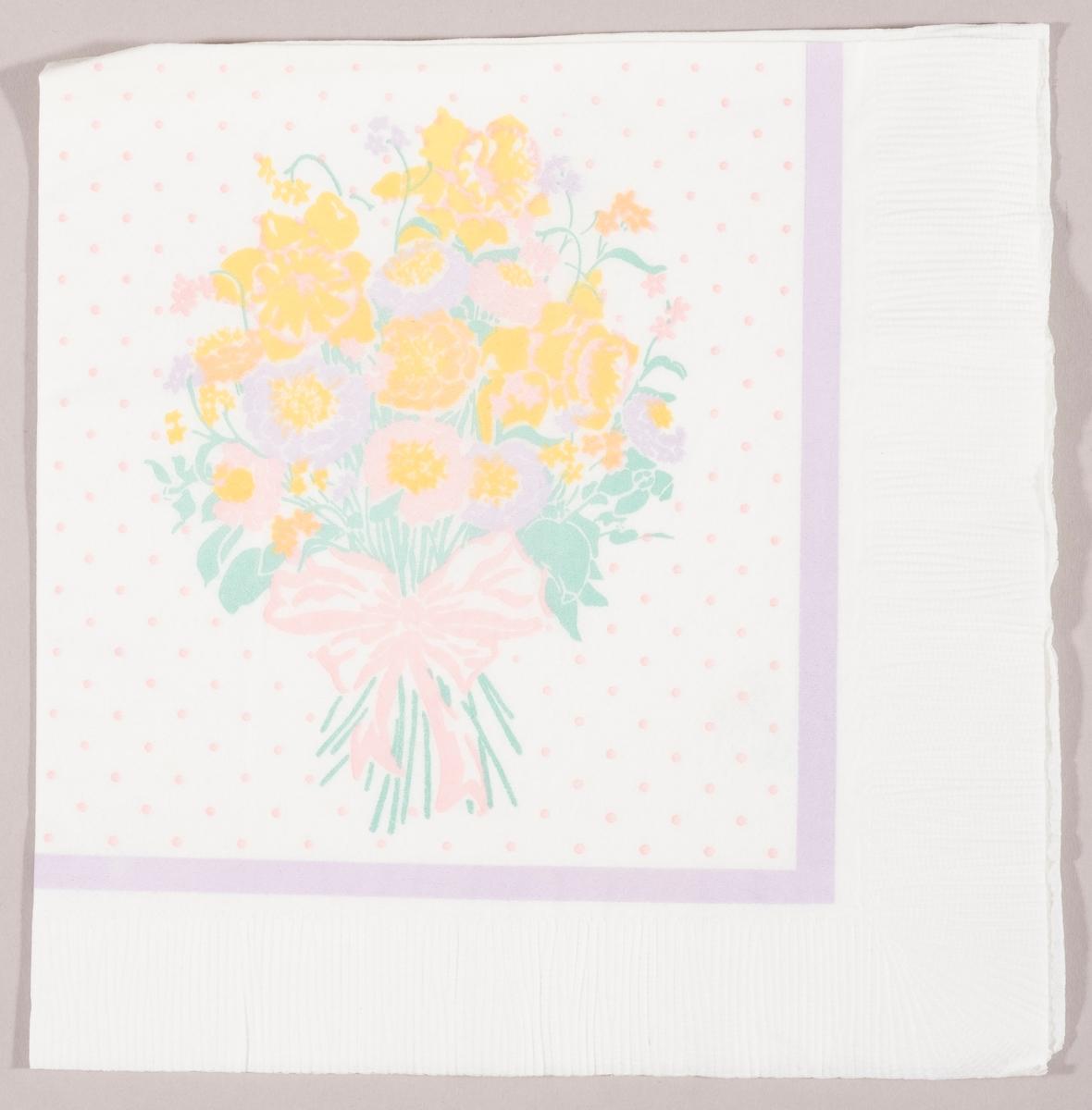 En bukett med påskeliljer og andre blomster bundet med en rosa sløyfe. Lilla kantstripe og rosa prikker.