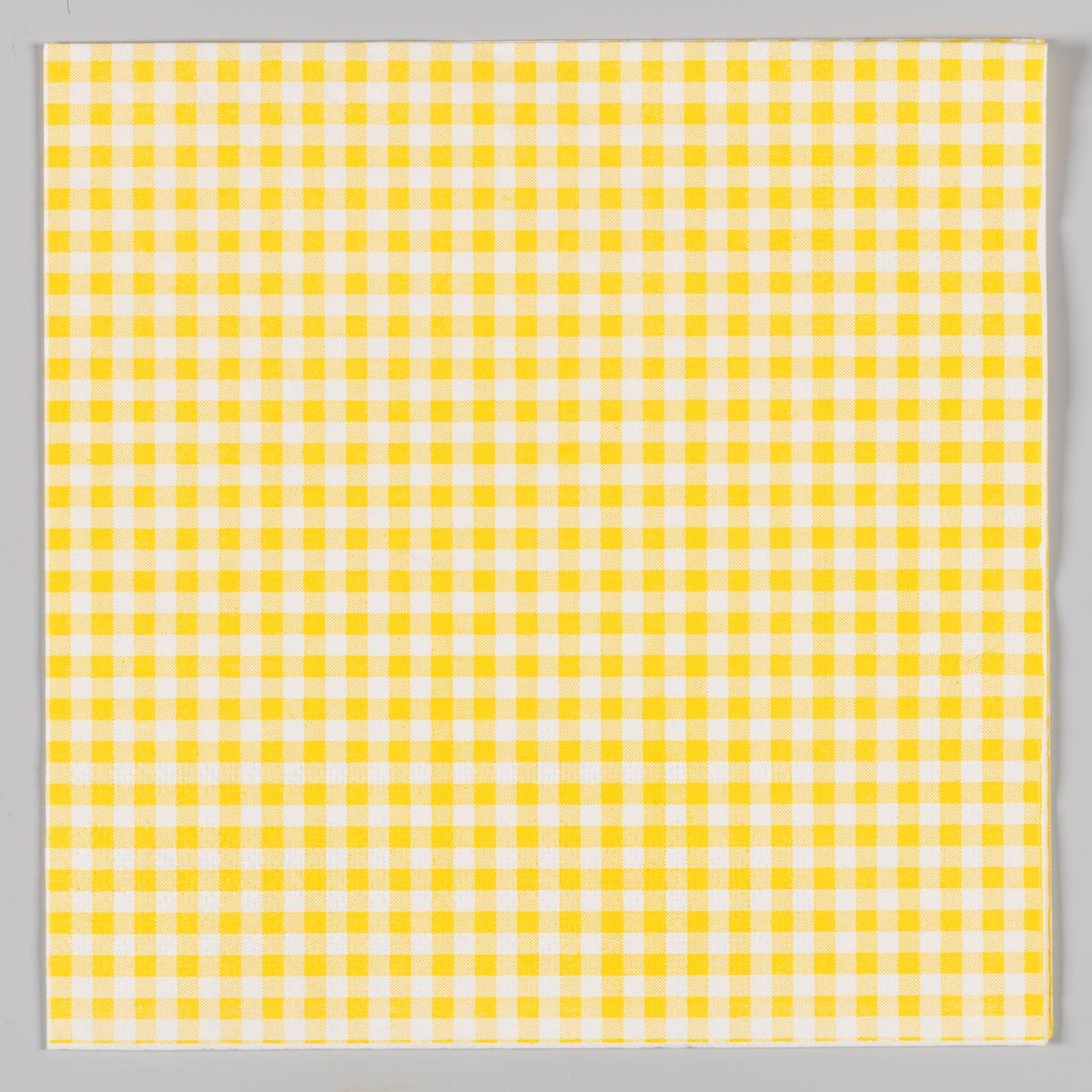 En gul og hvit rutete serviett.