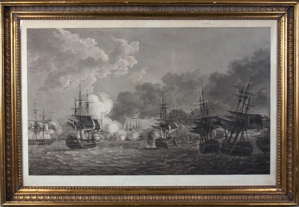 Motivet viser slagscene med trefninger mellom den britiske og den danske flåten utenfor København. Flåte med skipbrudne i forgrunnen av motivet.