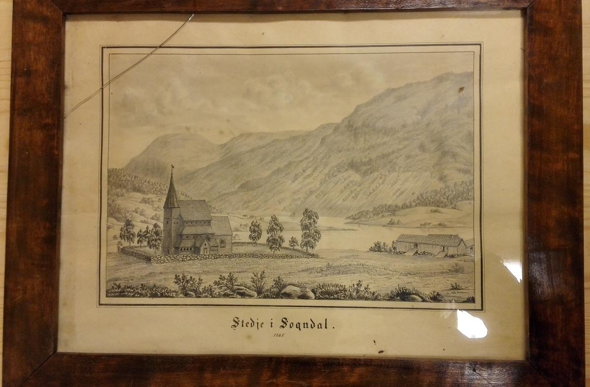 """4 tegninger fra Sogn.  4927: """"Fra Stedje i Sogndal"""".  Tegning av den gamle stavkirke.  Sjå kat. nr. 4925"""