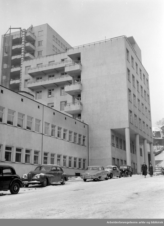 Rikshospitalet i Pilestredet. Januar 1952