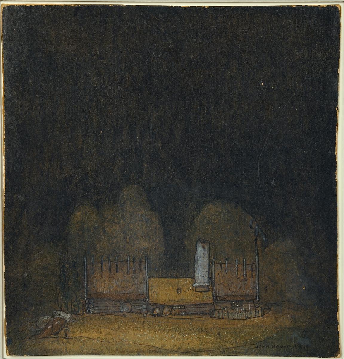 Akvarellmålning med detaljer i gouache och tusch. Ryggåsstuga i mörkt skogslandskap. Till vänster i bilden kommer en trollfigur gående mot stugan. Sommarlandskap i mörka gröna och bruna färger. Originalillustrationen är vinterlandskap.