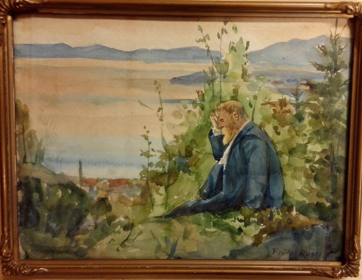 Akvarell, fjord - og fjell-landskap, sentralt i biletflata ei raudmåla stove, stad ukjendt.