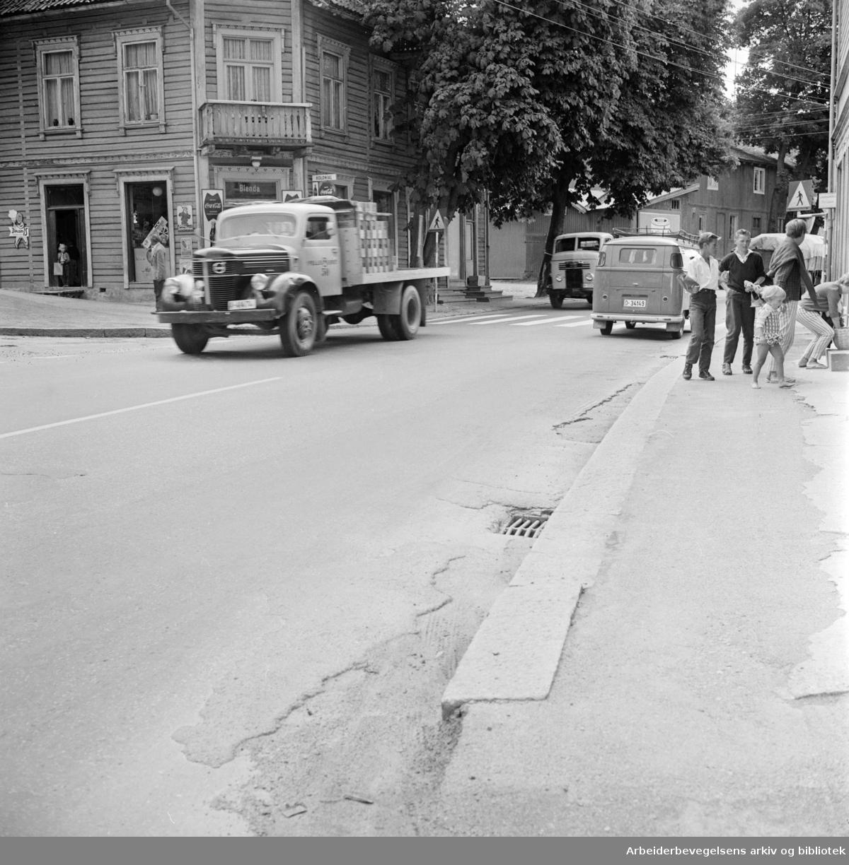 Mosseveien ved Bekkelaget. Juli 1962