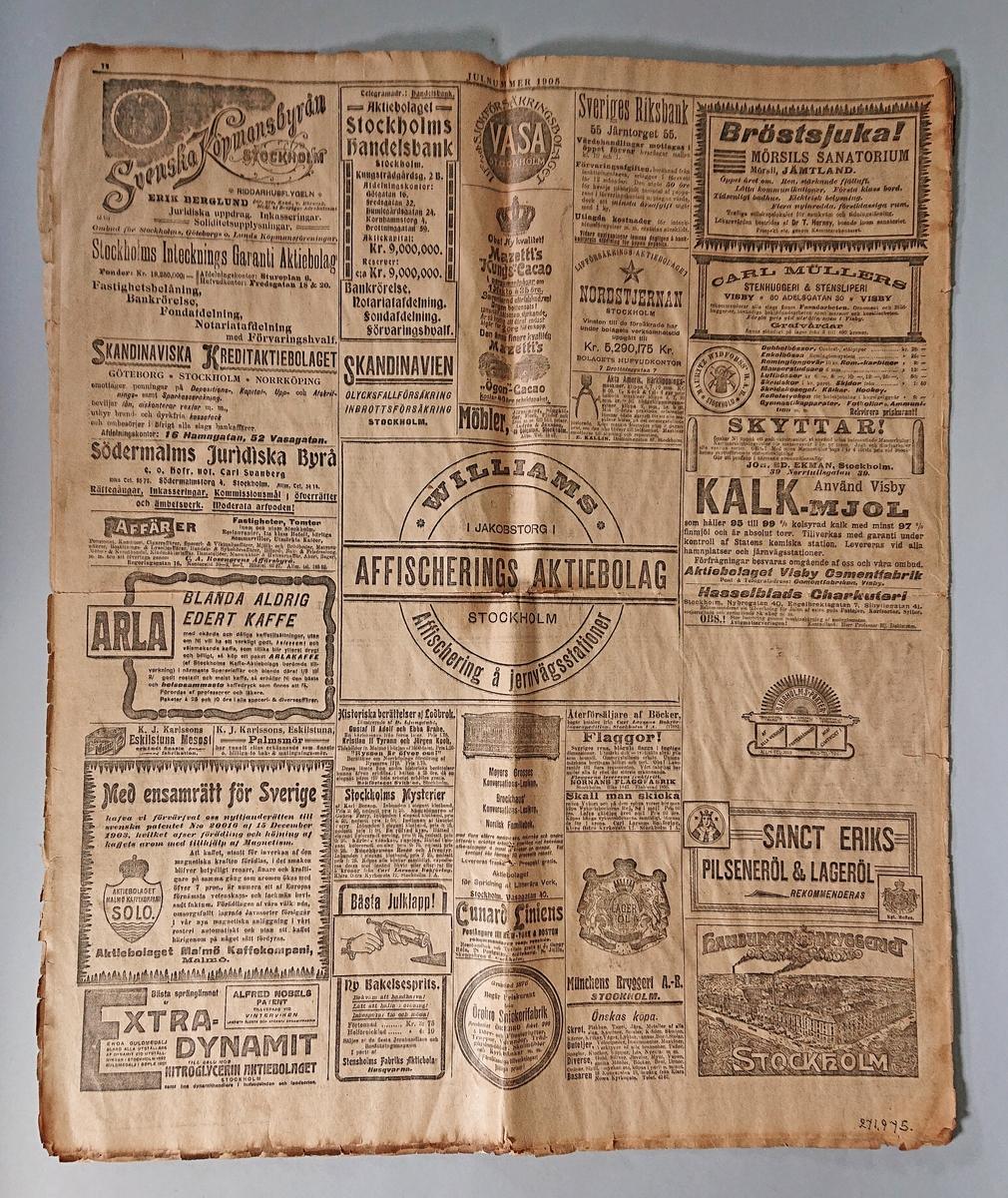 Tidning, Aftonbladet Julnummer 1905 med olika artiklar, annonser och illustrationer. Svårt skadad och trasig.