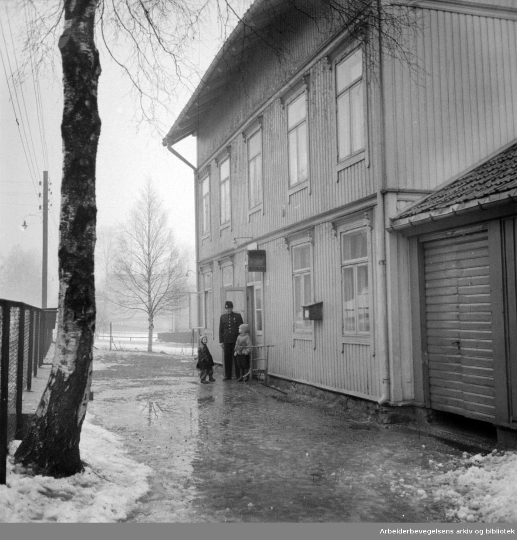 Kjelsås Politistasjon. Januar 1957