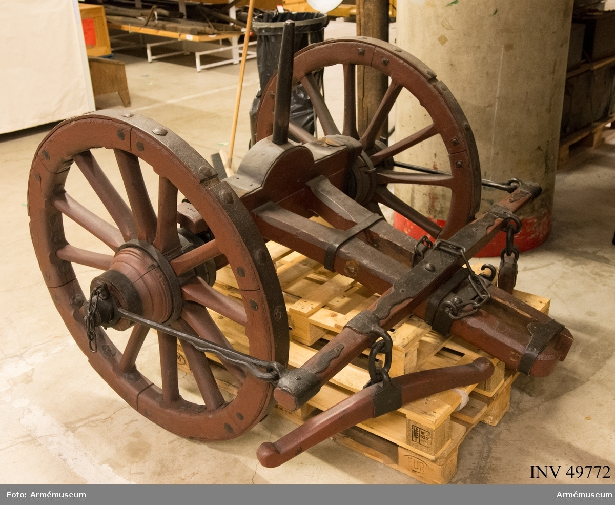 Grupp F I. Föreställare med förvåg och två svänglar till 12-pundig kanon av 1753 års konstruktion.