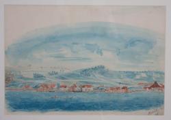 """Gamle Sandnes havn"" [Akvarell]"