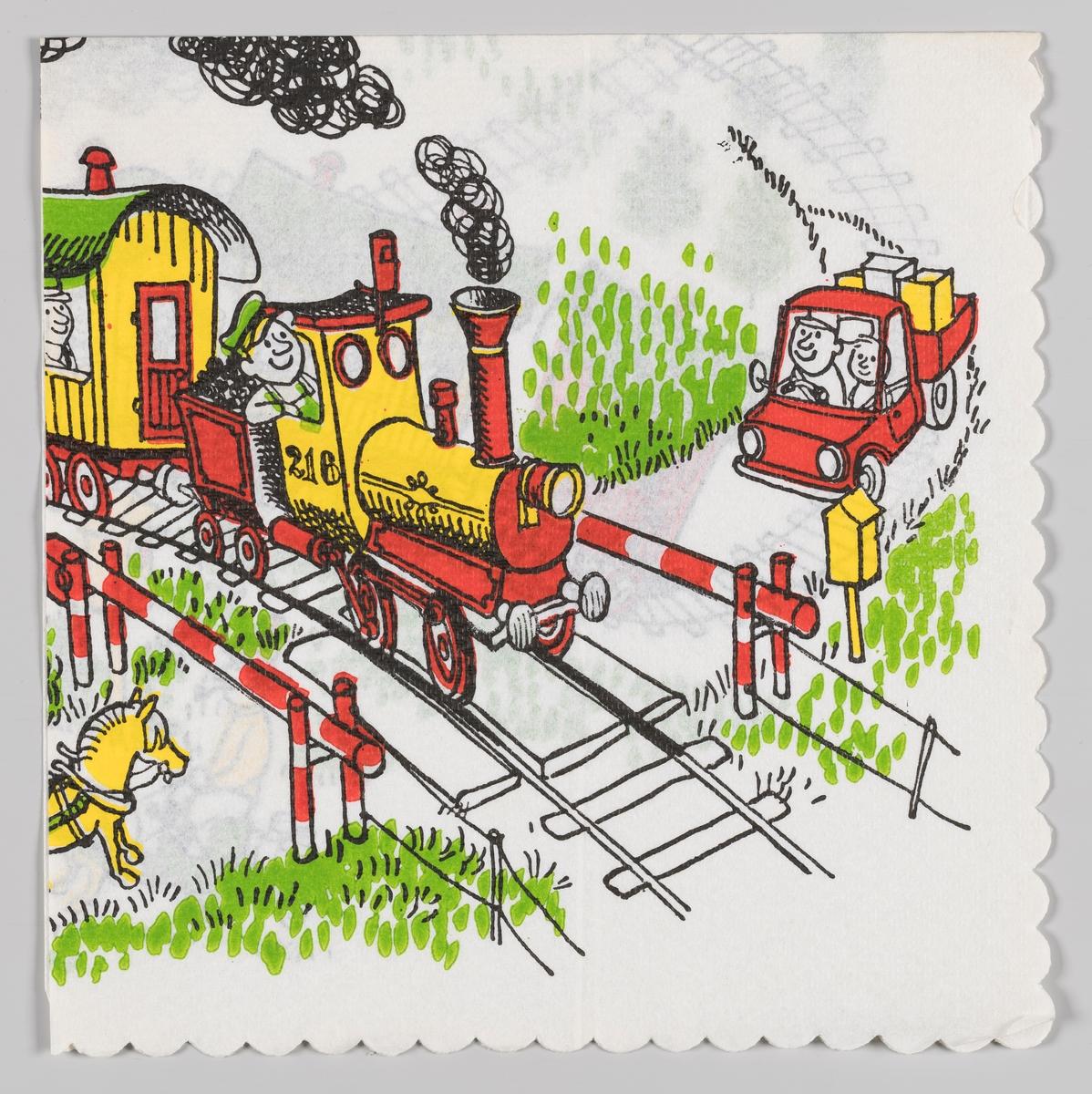 Et tog kjører over en togovergang der bommene er nede på begge sider. En togfører står i førerhuset på toget som er et damplokk. En varebil og en hest står stille ved bommen og venter på at toget passerer.