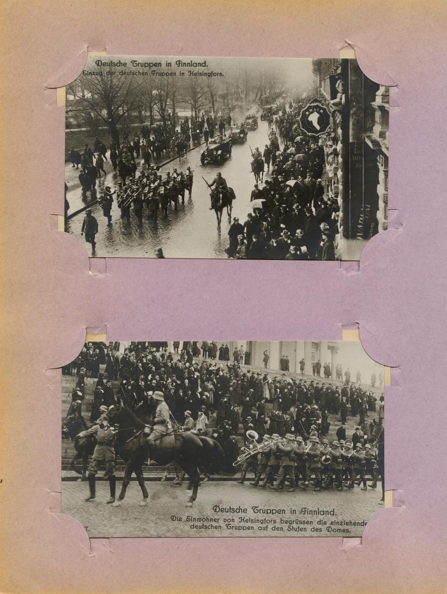 """Text i fotoalbum: """"Tyska trupper i Finland. Invånarna i Helsingfors välkomnar de tyska trupperna vid domkyrkan""""."""