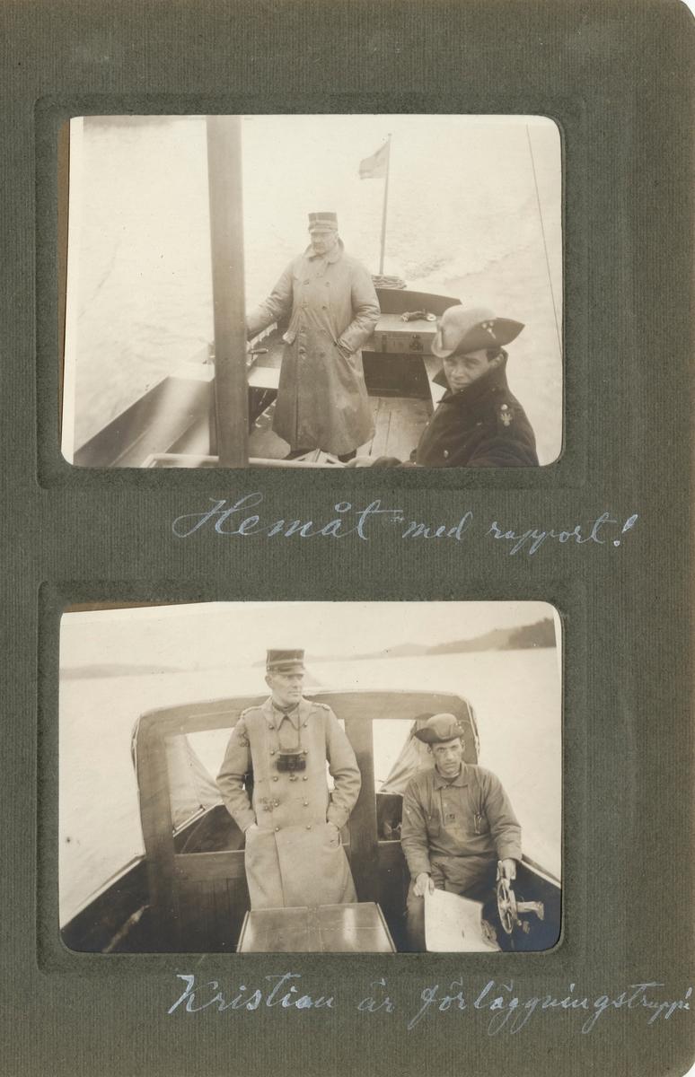 """Text i fotoalbum: """"Officersövningarna 1920. Hemåt med rapport!"""""""