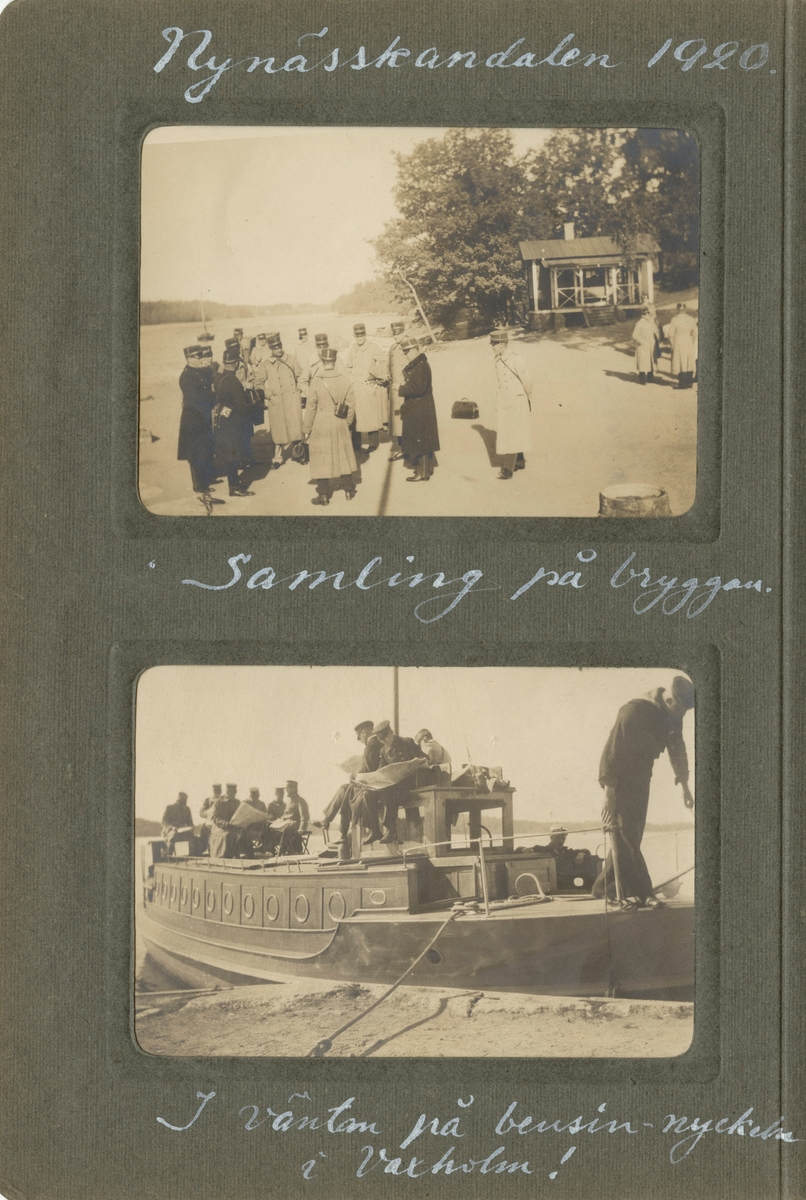 """Text i fotoalbum: """"Nynässkandalen 1920. Samling på bryggan."""""""