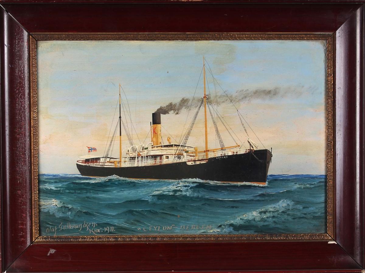 Skipsportrett av DS CEYLON under fart på åpnet hav. Fører norsk flagg akter.