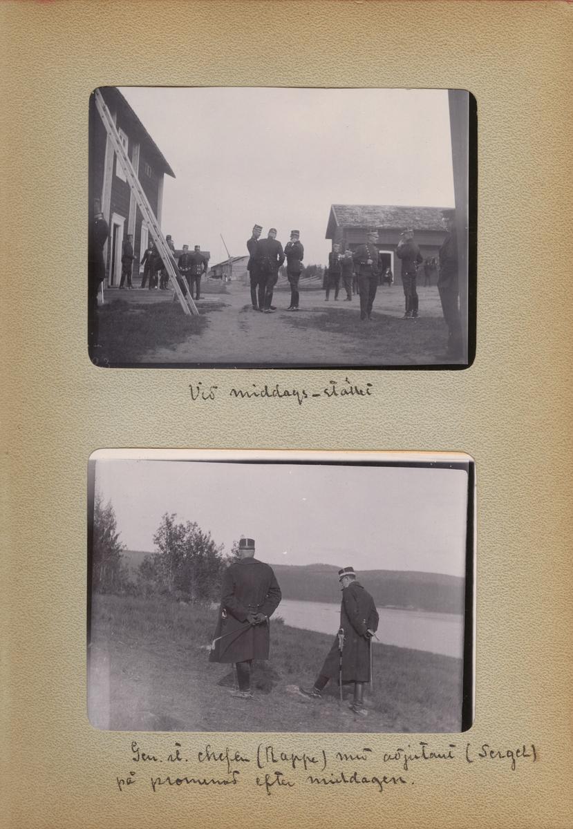 """Text i fotoalbum: """"Gen. st. chefen (Rappe) med adjutant (Sergel) på promenad efter middagen."""""""