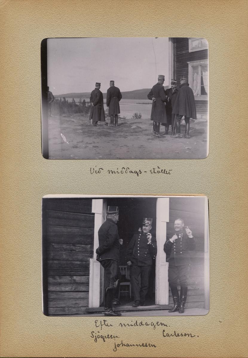 "Text i fotoalbum: ""Efter middagen. Sjögreen, Carleson, Johannesen."""