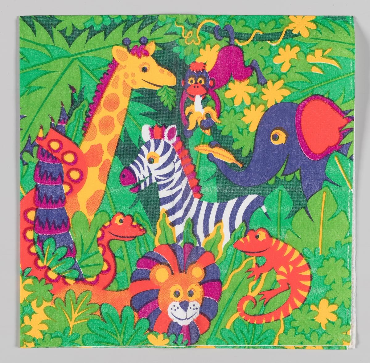 Afrikanske dyr i en jungel: En giraff, en ape, en elefant, en sebra, en slange en løve og en øgle