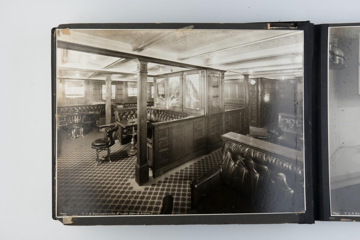Album med fotografier av interiøret ombord på D/S 'Bergensfjord'