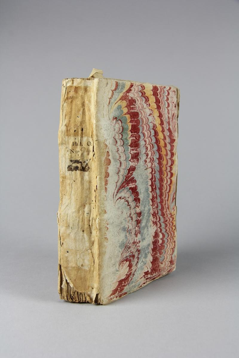 """Bok, häftad, """"Mémoires pour servir à l´ histoire des hommes illustres"""", del 1. Pärmar av marmorerat papper, oskuret snitt. Anteckning om inköp."""