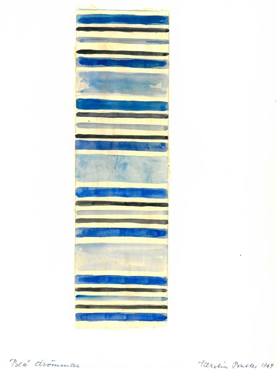 """Skiss till trasmatta. Formgivning: Kerstin Butler 1969 """"Blå drömmar"""""""