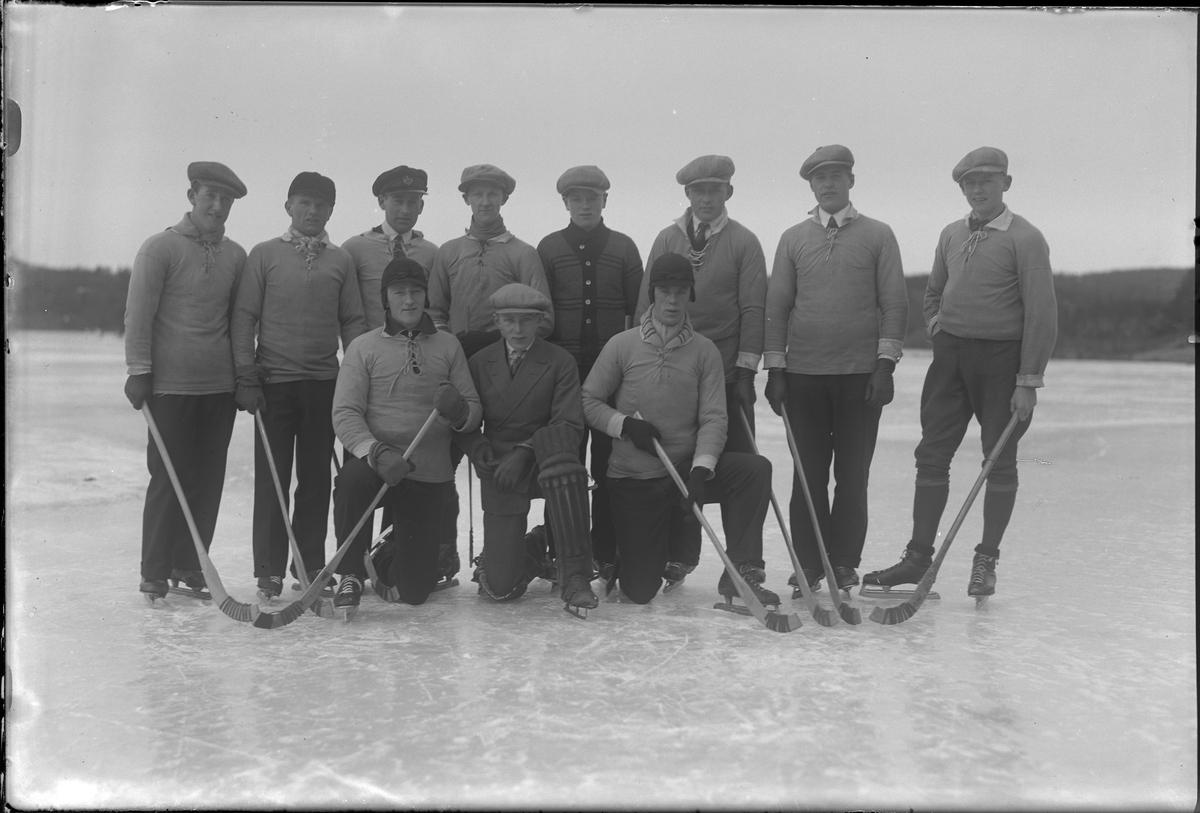Gruppbild på Alingsås Idrottsförenings bandylag, B-laget, uppställda med klubbor ute på isen.