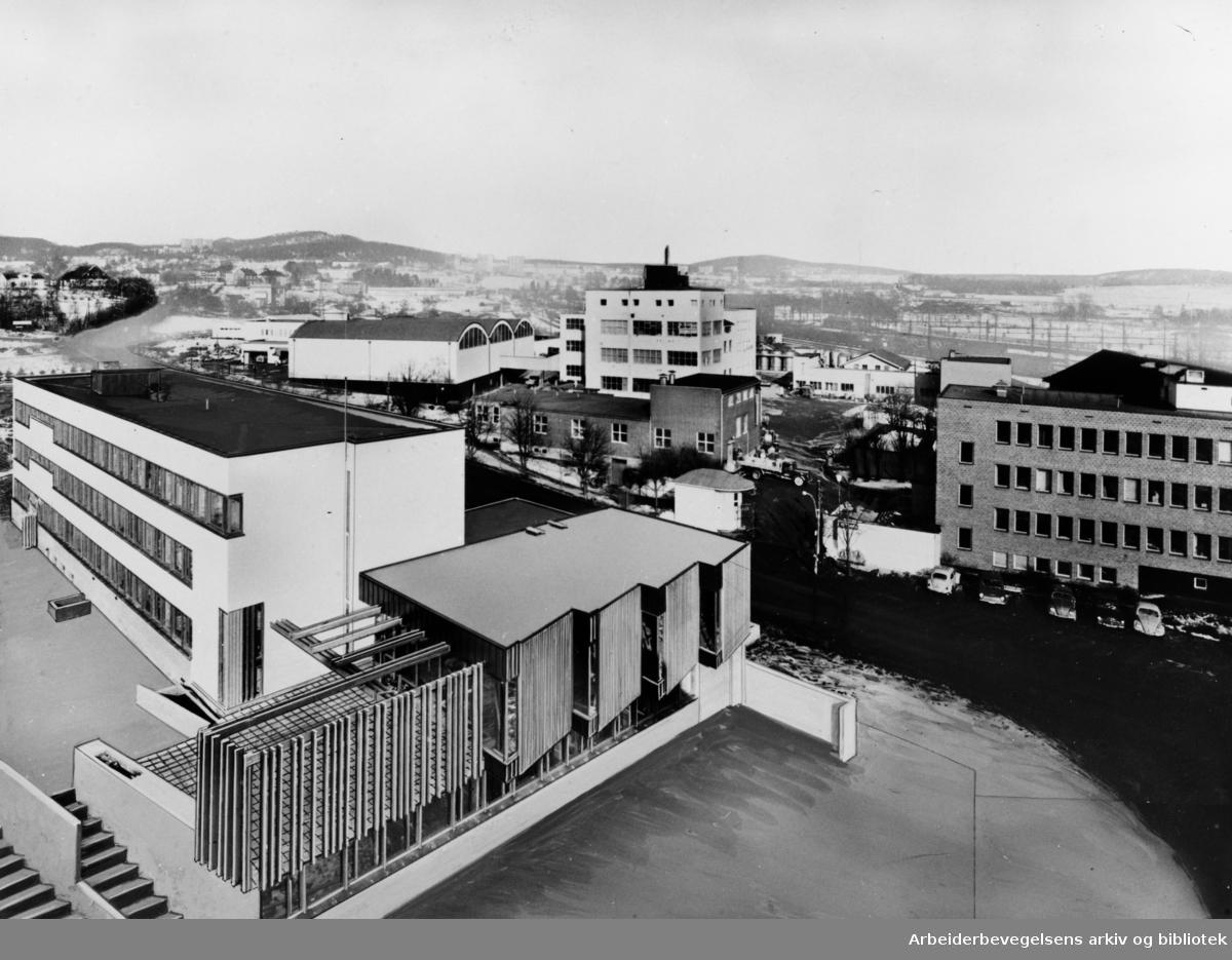 Alnabru. Alf Bjerckes fabrikk. April 1964