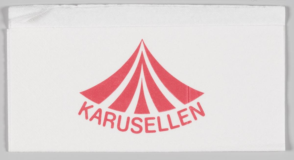 En tegning av taket på en karusell og reklameteksten Karusellen