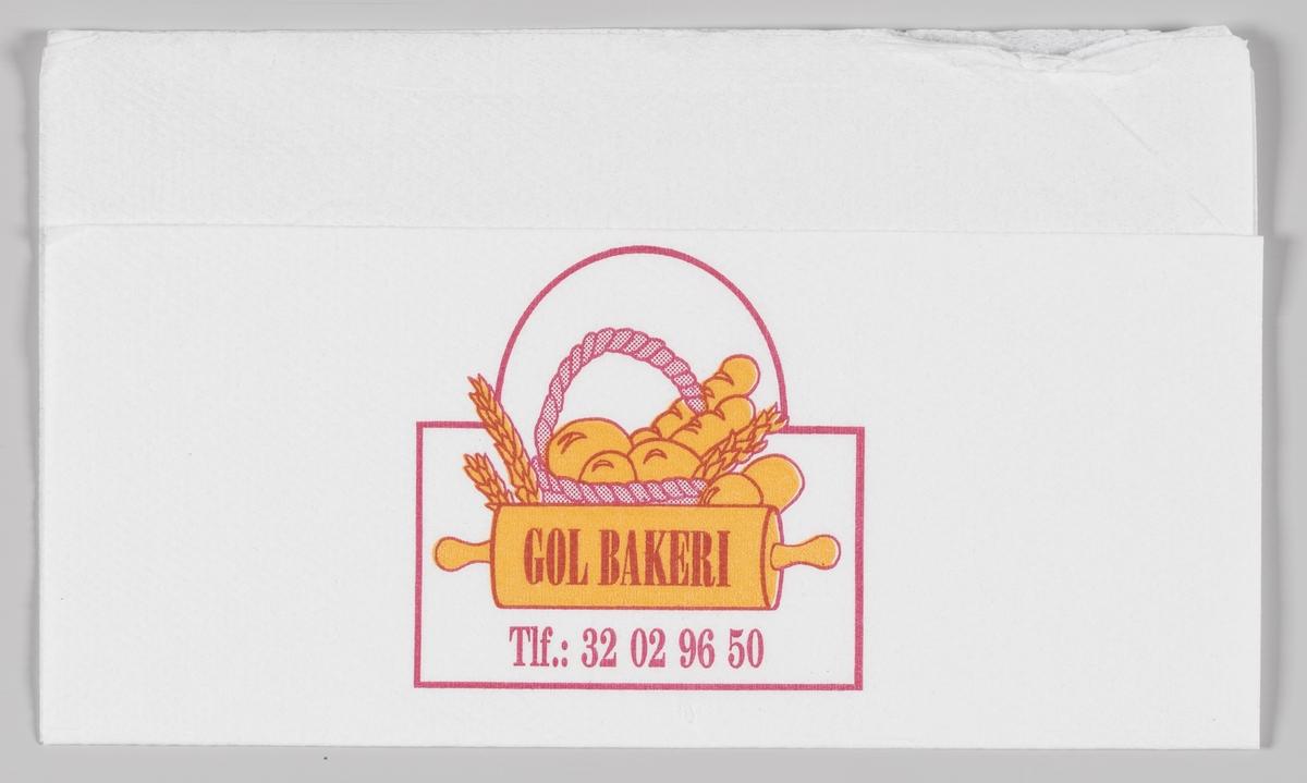 En kurv med bakervarer, korn og en kjevle og reklametekst for Gol bakeri.