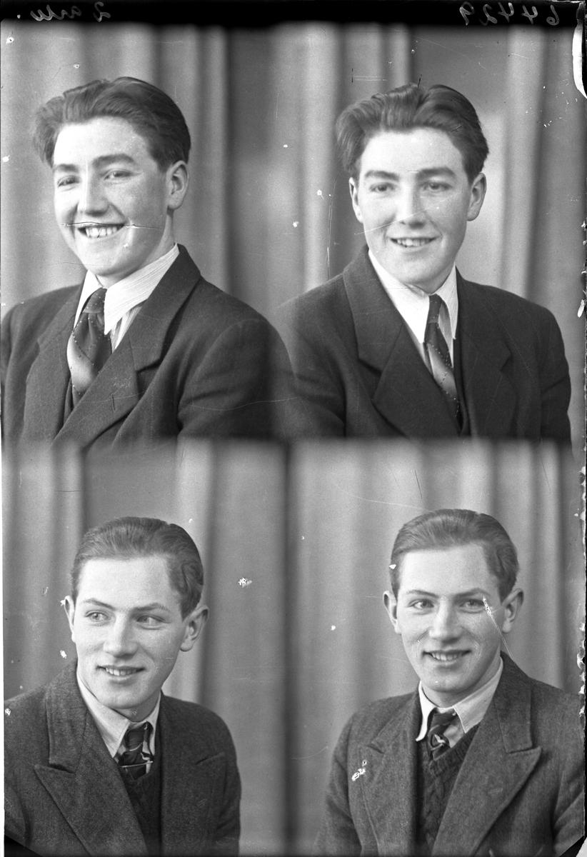 Portrett. To ung menn i mørke dress med slips, den ene med vest den andre med genser. To foto av hver. Bestilt av Ole Aric Olsen. Rossebø.