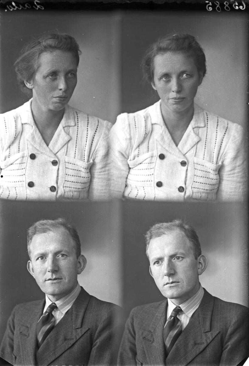 Portrett. Ung kvinne i lys drakt og ung mann i mørk dress. Bestilt av Urmaker Alf. M. Olsen. Breidablikgt.