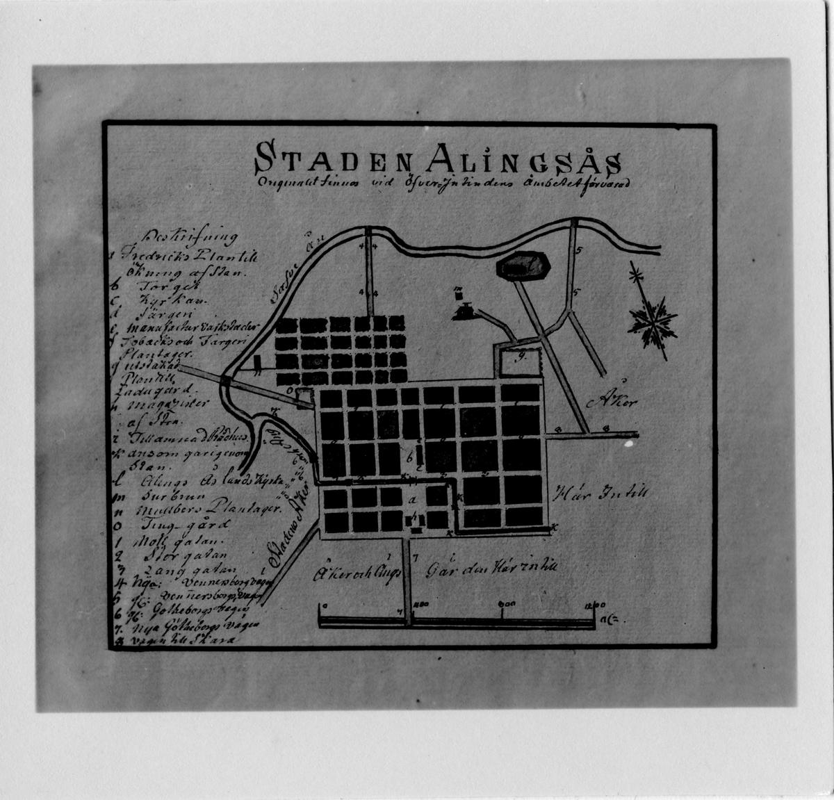 Bild på gatuförteckning och karta över Alingsås Stad.