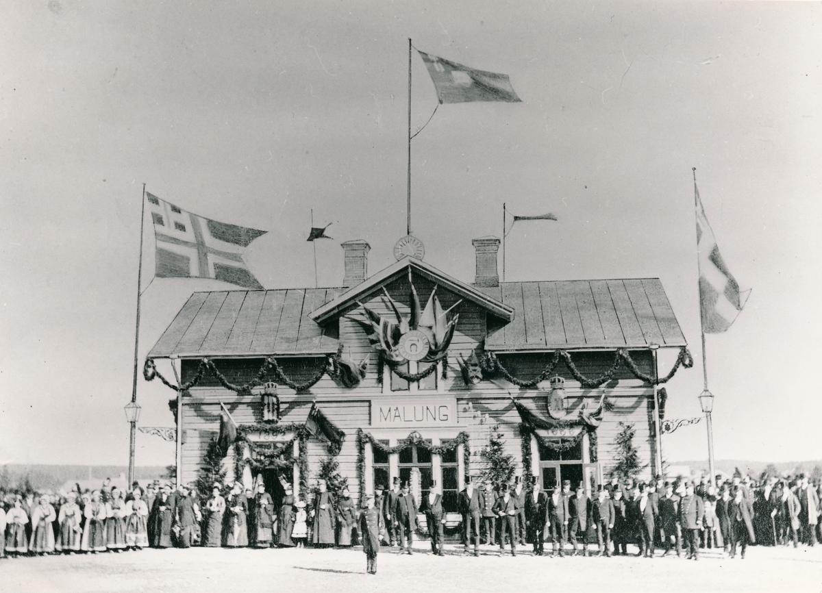 Malungs station Invigning av Mora-Värnens järnväg