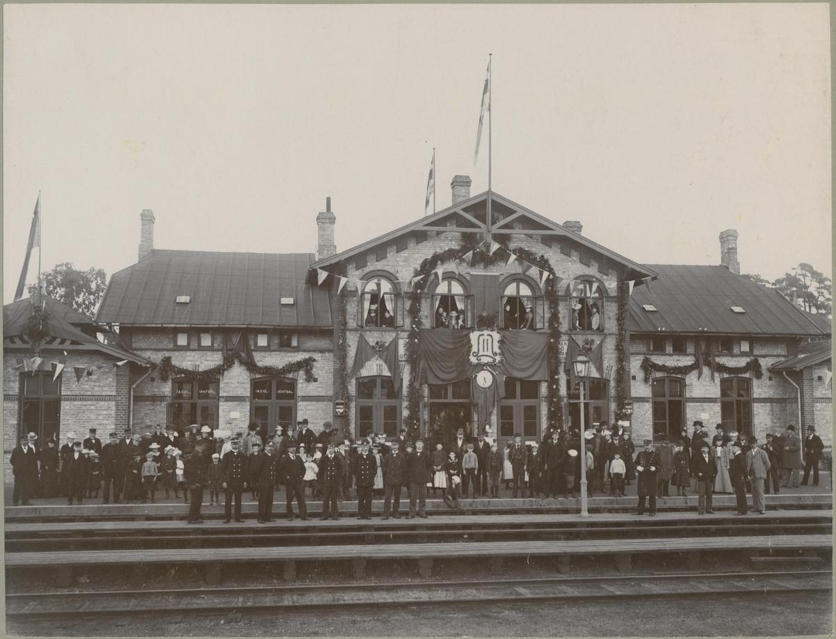 Ängelholms järnvägsstation, ca år 1890.