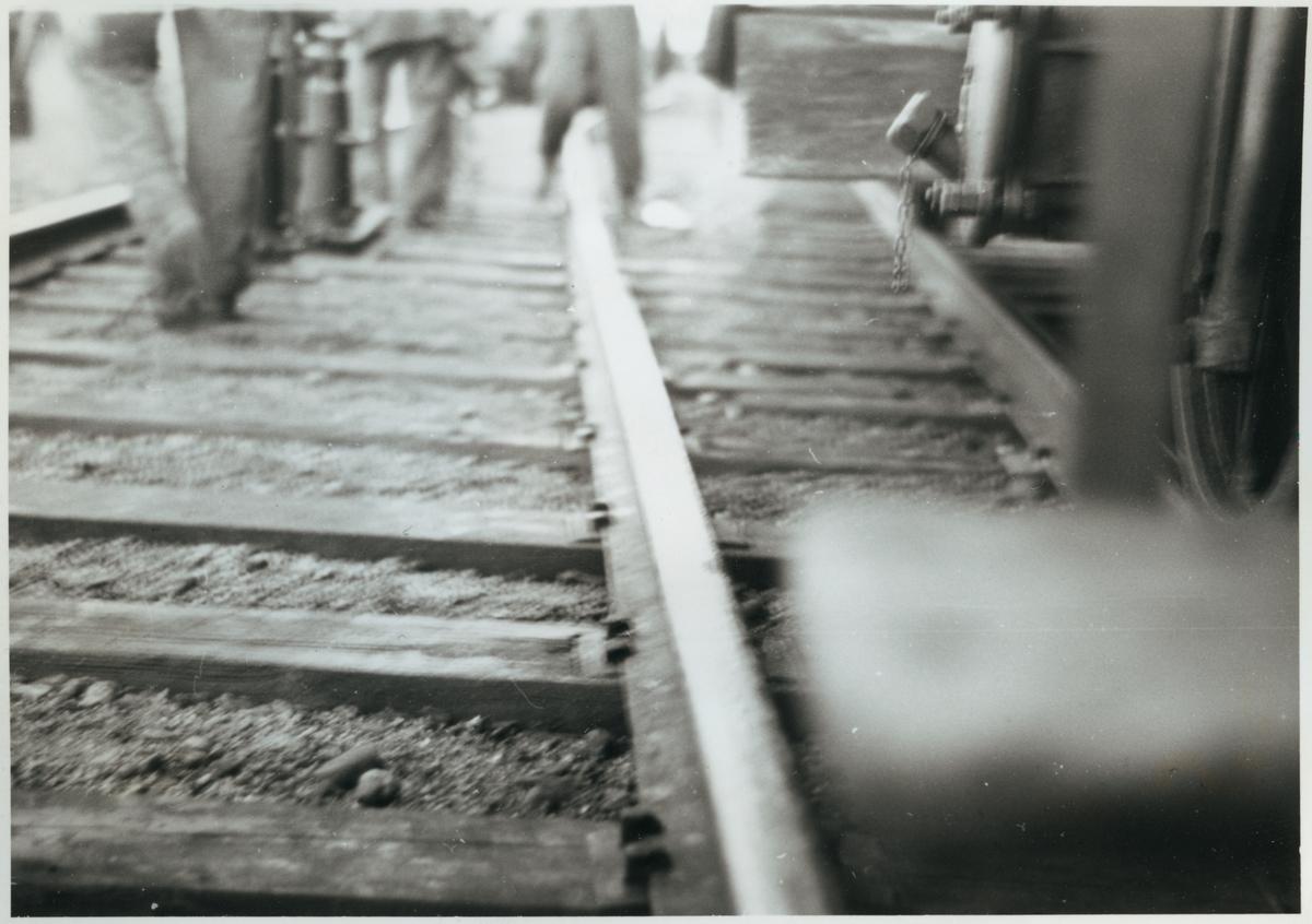 Järnvägsräler efter olyckan i Pålsboda 1951.
