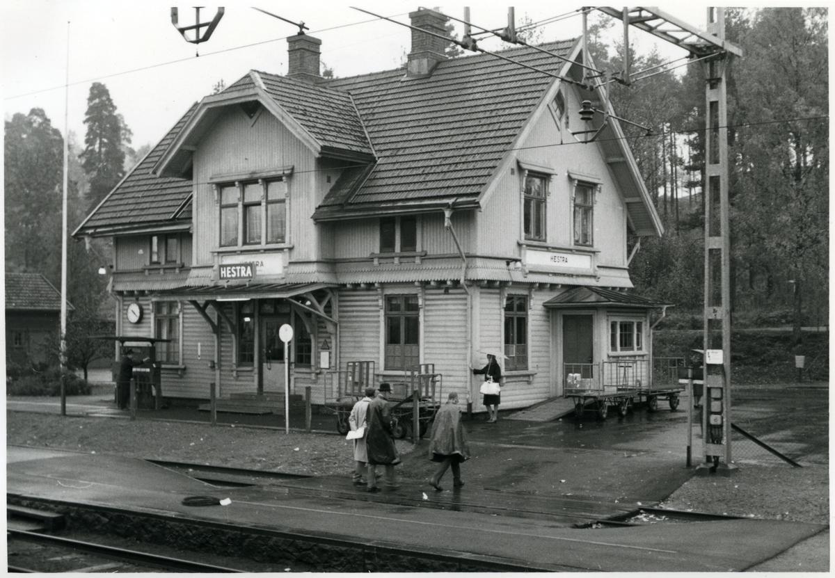 Station anlagd 1902. Tvåvånings stationshus i trä
