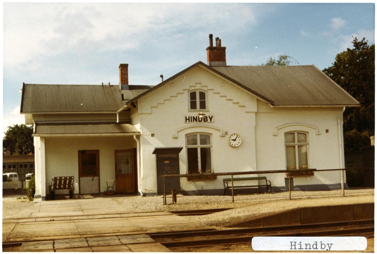 Hindby station 1971. Malmö - Ystad Järnväg, MYJ. Stationen öppnades 1874 och lades ner 1973. Övergick till Statens Järnvägar, SJ 1941.