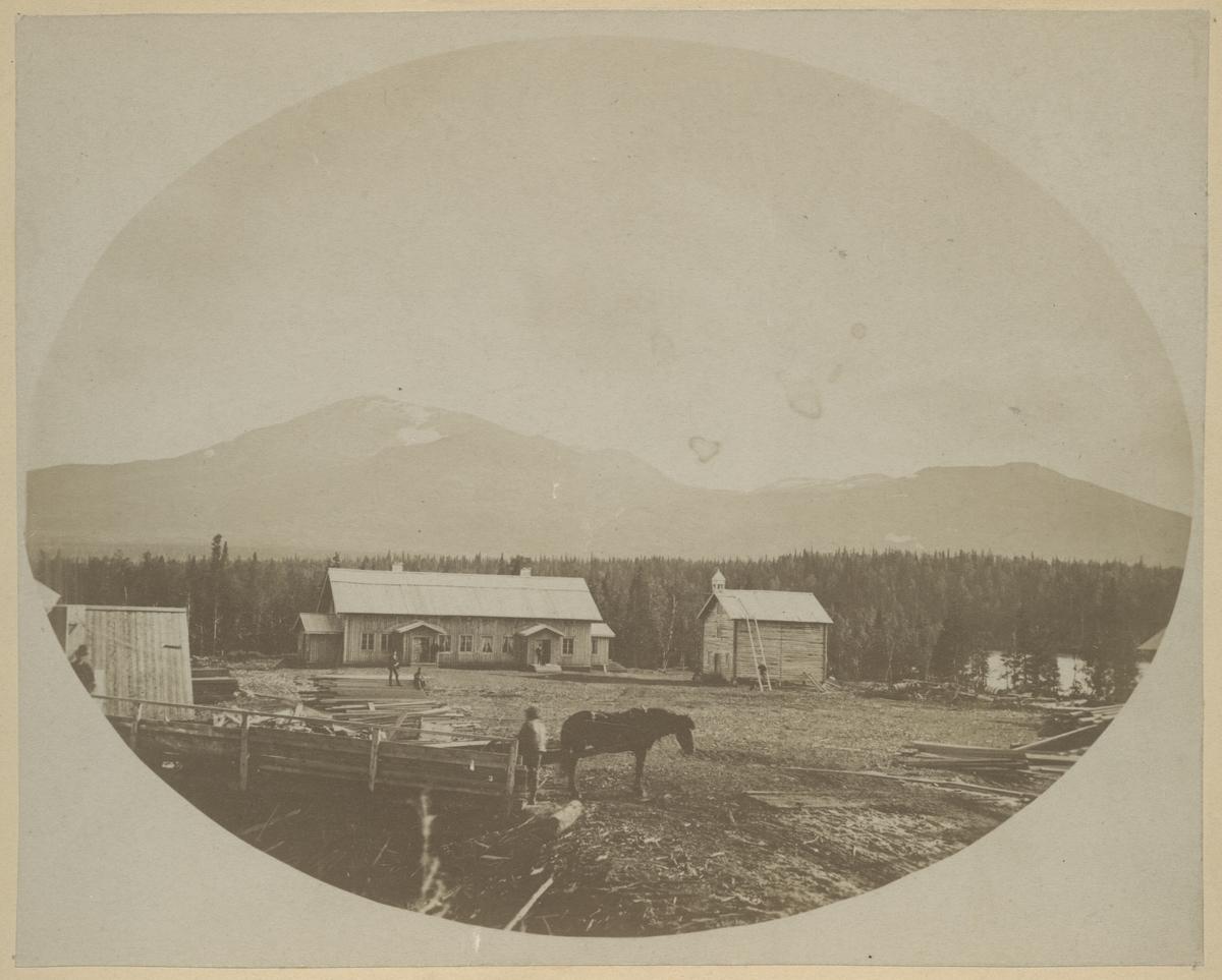 SJs banbyggnad av Linjen Torpshammar- Riksgränsen. (Storlien)  Foto är taget i Enaforsholm, år 1875.