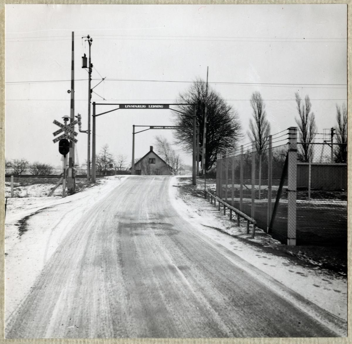 Järnvägsövergång vid Rosengårdsvägen, sedd från gatan.