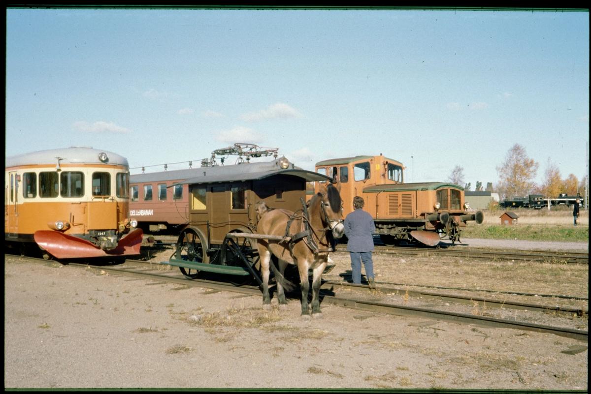 Uppställda fordon på Järnvägsmuseets bangård i Gävle. Statens Järnvägar, SJ Y7 1247.