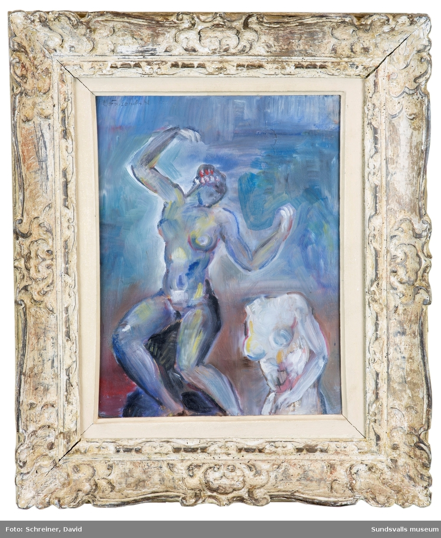 Kvinna med spegel och torso [Oljemålning]