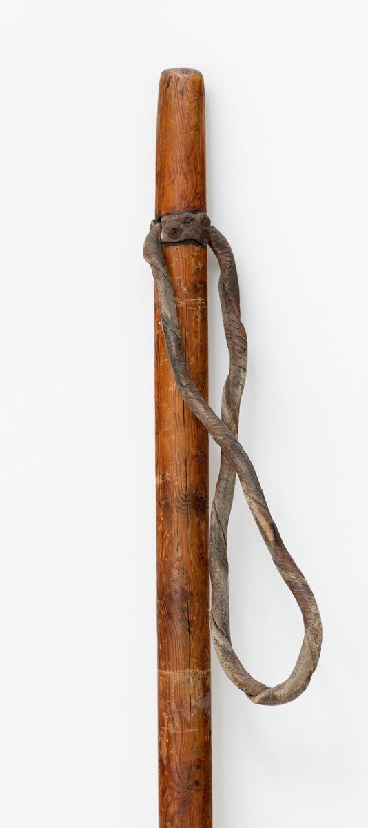 """Skiene er laget av tennarfuru som er brunbeiset, De har to renner, På skienes overside er det skåret inn tre striper. Bindingene består av en sinkbøyle som går rundt støvelen. Foran bindingene er det fire striper skåret inn. Rundt hælen er det sydd fast lærstykker. Bakerst på sinkbøylen sitter en tynn lærreim til å surre rundt støvelen. Over tåa går en ca. 4,5 cm bred lærreim. Under bindingen er det stiftet fast et 31 cm langt gummistykke.  Staven har øverst ei lærreim til å stikke handa i. Trinsa er laget av værhorn. Den er festet med lærreim. Spissen på skistaven er av jern.  Skiene er laget og brukt av """"Sølensjøkongen"""", Reodor Wardenær."""