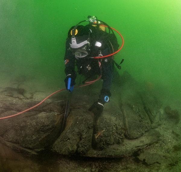 Dykker under vann sager i vrak på sjøbunnen: Arkeolog Elling Utvik Wammer sager ut skiver av hudbord til datering av skipsvraket ved Drengeholmen.. Foto/Photo