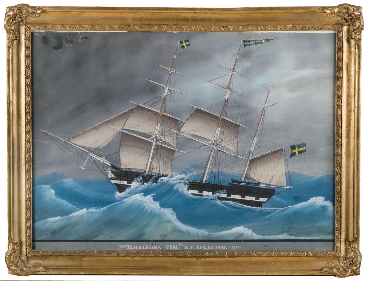 Barkskeppet Wilhelmina, osignerad. Skeppet kom till Gävles handelsflotta 1838.