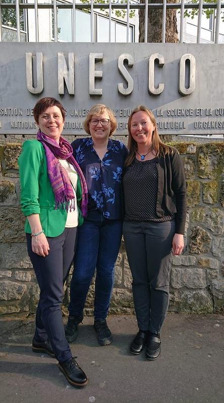 Siri Mæland (SFF), Camilla Rossing (NBF) og Marit Stranden (SFF) på møte i UNESCO's hovedkvarter i Paris, april 2019.