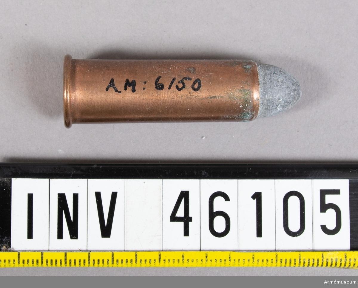 Grupp V. 12 mm hel skarp patron m/1868. Till 12 mm gevär m/1867 och karbiner m/1870, 1864-1868-1885.