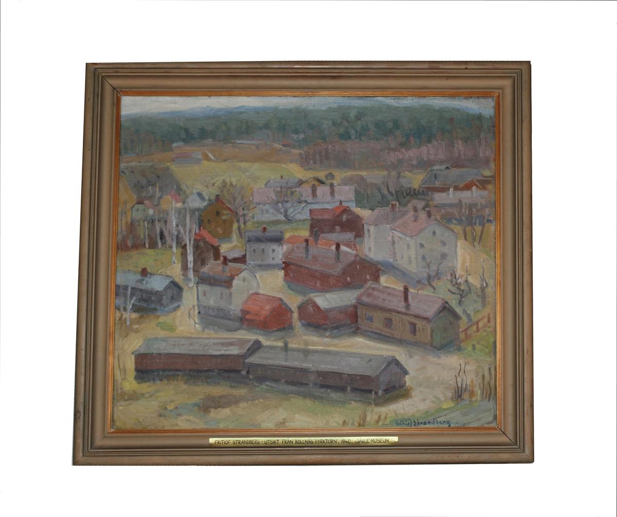 """Oljemålning, """"Utsikt från Bollnäs kyrktorn"""" av Fritiof Strandberg, 1940."""