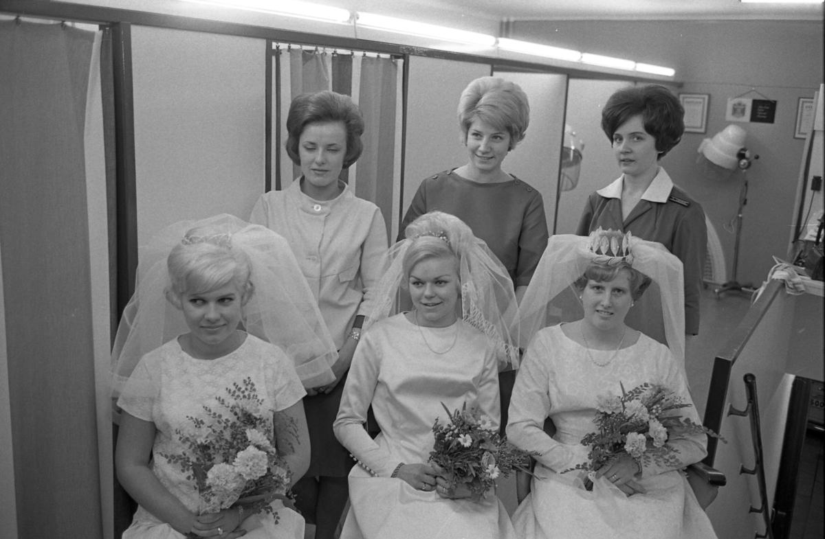 Gesällprov för damfrisörskor. Tre hårfrisörskor har gjort iordning var sin brud. Den första hårfrisörskan är okänd, hon i mitten är Birgitta Karlsson (gift Segerstedt)med sin modell Ing-Britt Karlsson. Längst till höger står Ann-Christine Lundgren med sin modell Mattsson. De brudklädda kvinnorna är okänd, Ing-Britt Karlsson och Matsson. I bakgrunden ses hårtorkar på stativ.