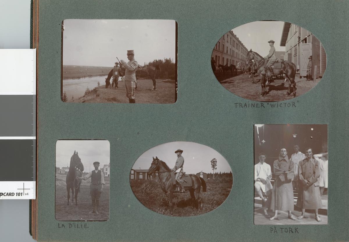 Häst och hästskötare från Kronprinsens husarregemente K 7.