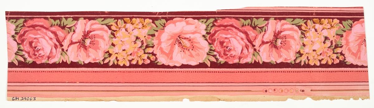 Rosenbård i gult och grönt samt i flera rosa nyanser på en delvis vinröd bakgrund.