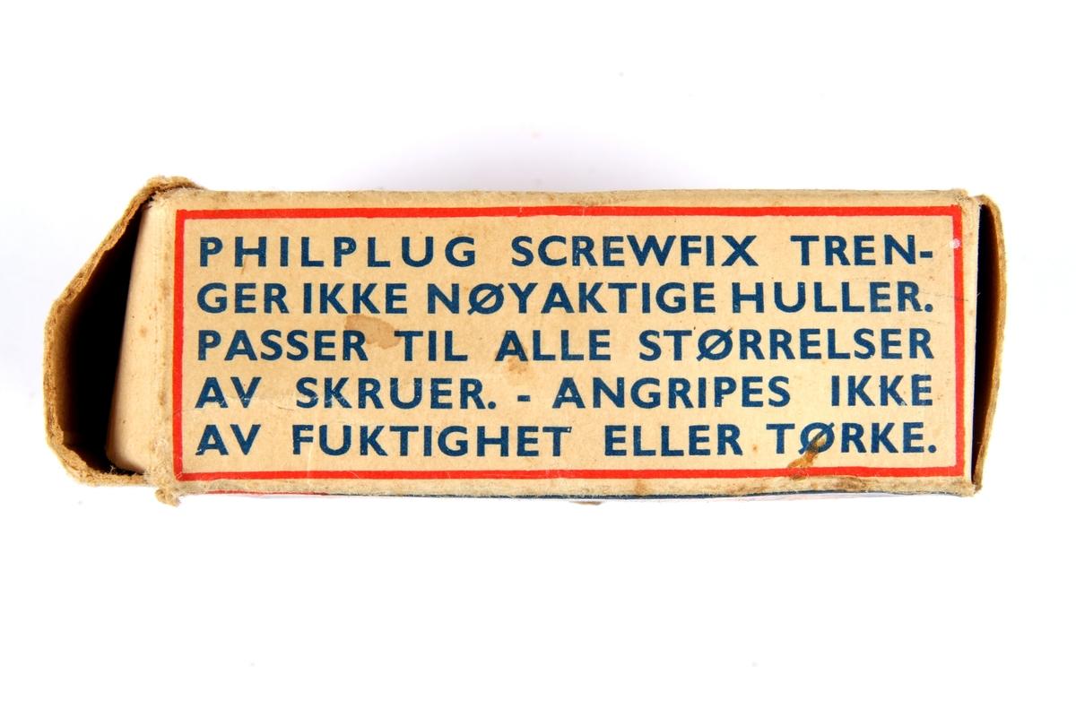 """Eske til """"Philplug"""" som er sylindrisk plastinnsats til stein og murverk som man kan feste skruer i."""
