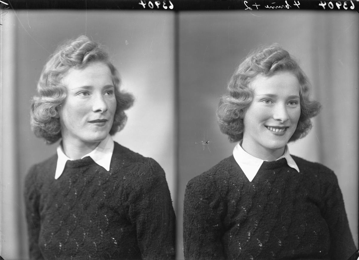Portrett. Ung lyshåret kvinne i hvit skjorte og mørk mønstret genser. Bestilt av J. Henriksen. Skåregt. 145